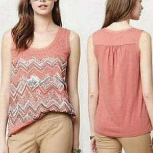 Anthropologie embelished sleevless blouse